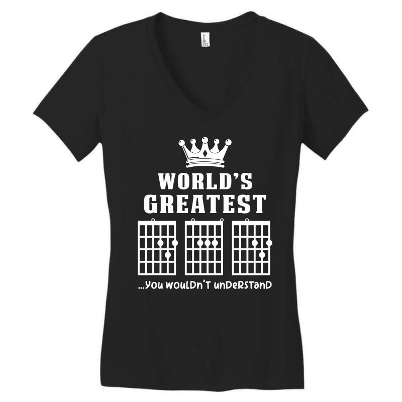 d8d19e5ca Custom F Chord Dad Funny Guitar Women's V-neck T-shirt By Akin ...