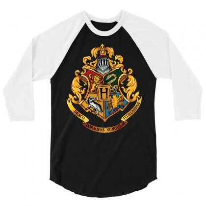 Hogwarts Logo T-shirts 3/4 Sleeve Shirt Designed By Nurbetulk