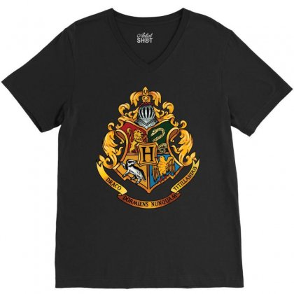 Hogwarts Logo T-shirts V-neck Tee Designed By Hasret