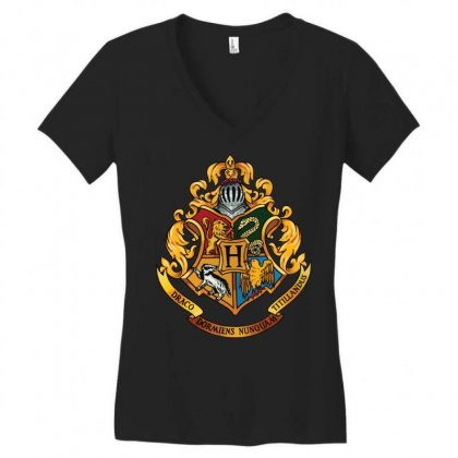 Hogwarts Logo T-shirts Women's V-neck T-shirt Designed By Nurbetulk