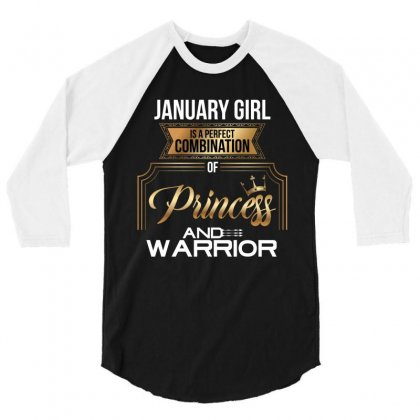January  Girl Is A Perfect Combination Of Princess And Warrior 3/4 Sleeve Shirt Designed By Wizarts