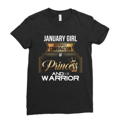 January  Girl Is A Perfect Combination Of Princess And Warrior Ladies Fitted T-shirt Designed By Wizarts