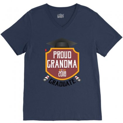 Proud Grandma Of A 2018 Graduate V-neck Tee Designed By Wizarts