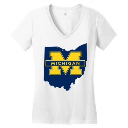 Ohio For Michigan Women's V-neck T-shirt Designed By Yellow Star
