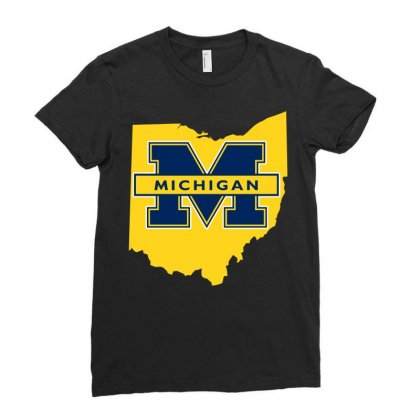 Ohio For Michigan Ladies Fitted T-shirt Designed By Yellow Star