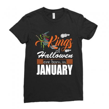 Halloween Kings Are Born In January Ladies Fitted T-shirt Designed By Rardesign