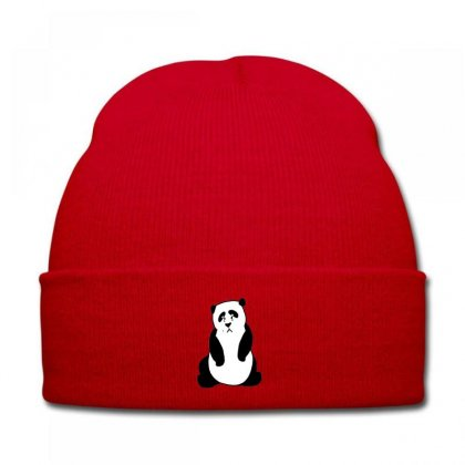 Crying Panda Embroidery Knit Cap Designed By Justembroidery