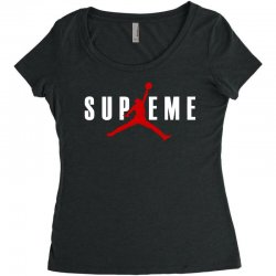 jordan x supreme white logo Women's Triblend Scoop T-shirt | Artistshot
