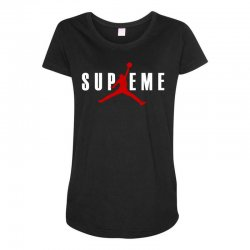 jordan x supreme white logo Maternity Scoop Neck T-shirt | Artistshot