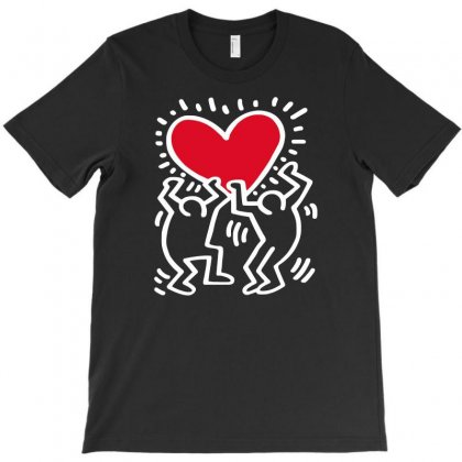 Keith Haring Big Love Black T-shirt Designed By Meza Design