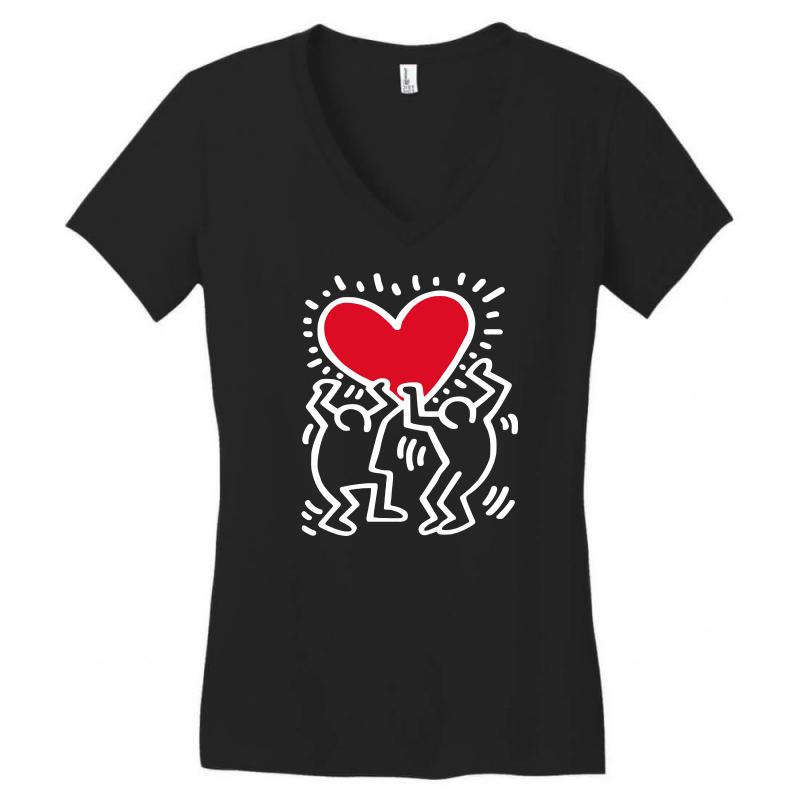 Keith Haring Big Love Black Women's V-neck T-shirt | Artistshot