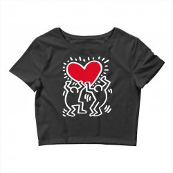 keith haring big love black Crop Top | Artistshot