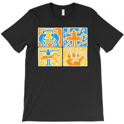 Keith Haring Blue Orange White T-shirt Designed By Meza Design