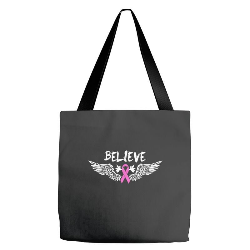 60fab13ba Angel Wing Believe Breast Cancer Tote Bags. By Artistshot