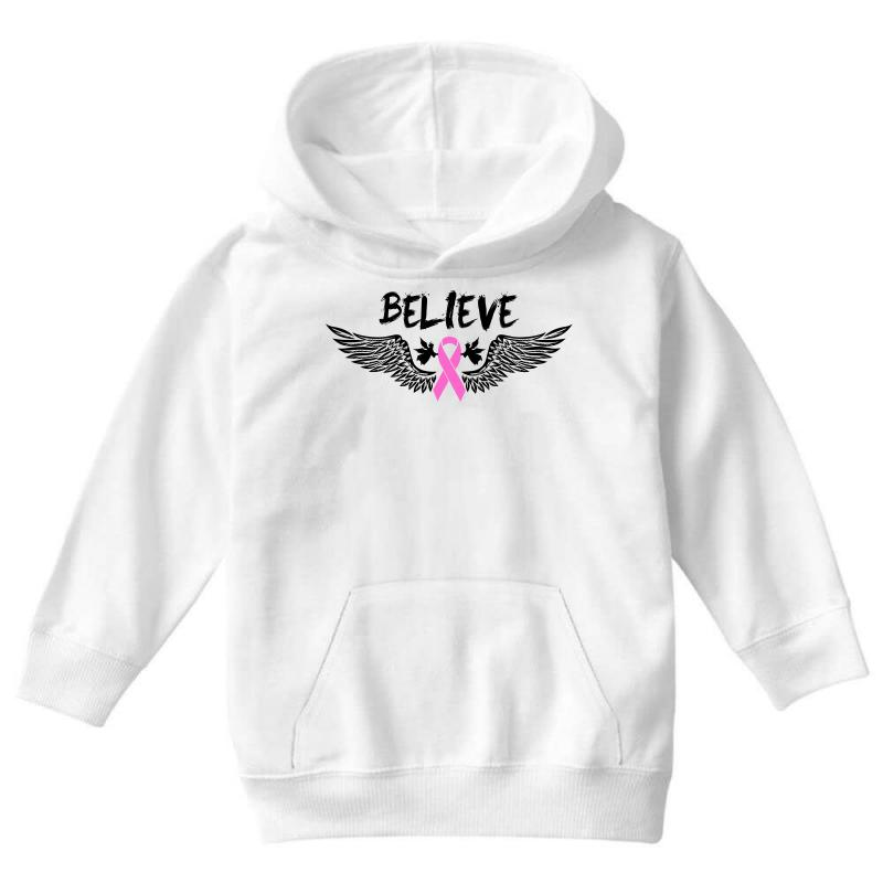 e5e13886d Angel Wing Believe Breast Cancer Youth Hoodie. By Artistshot