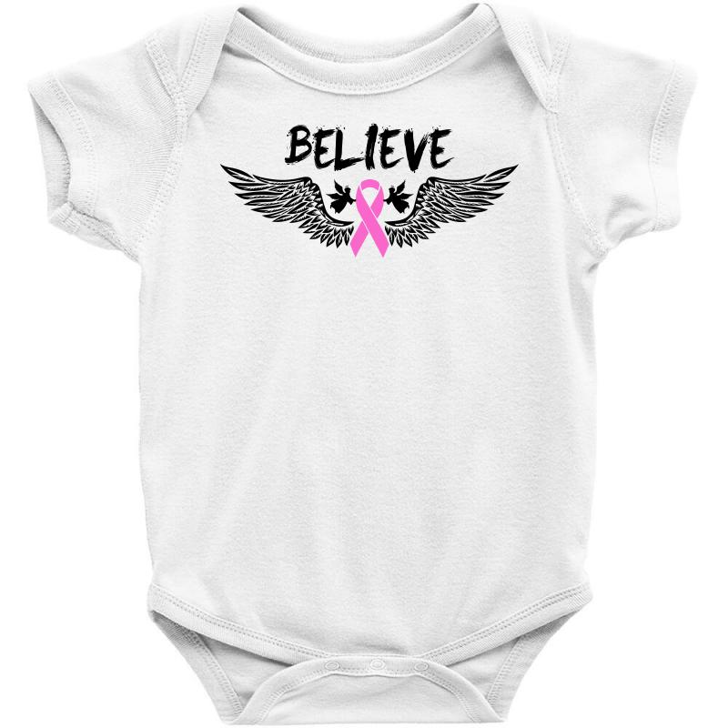 9de39e9b0 Angel Wing Believe Breast Cancer Baby Bodysuit. By Artistshot