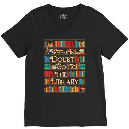 Harry Potter When In Doubt Go To The Library V-neck Tee Designed By Nurbetulk