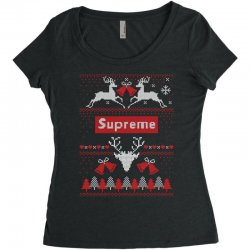 supreme ugly christmas sweater Women's Triblend Scoop T-shirt | Artistshot
