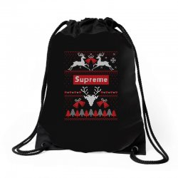 supreme ugly christmas sweater Drawstring Bags | Artistshot