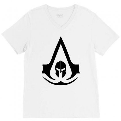 Assassins Creed Odyssey Black Logo V-neck Tee Designed By Yellow Star