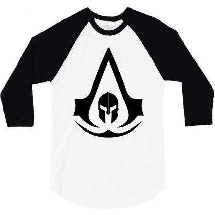 Assassins Creed Odyssey Black Logo 3/4 Sleeve Shirt Designed By Yellow Star