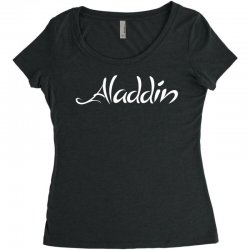 aladdin white logo Women's Triblend Scoop T-shirt | Artistshot