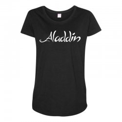 aladdin white logo Maternity Scoop Neck T-shirt | Artistshot