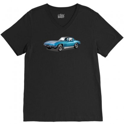 1965 Corvette Sting Ray Classic Car, Ideal Birthday Gift Or Pres V-neck Tee Designed By Mdk Art
