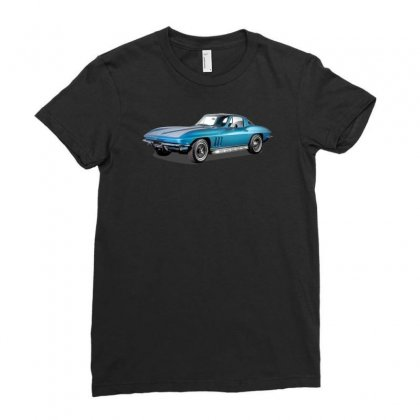 1965 Corvette Sting Ray Classic Car, Ideal Birthday Gift Or Pres Ladies Fitted T-shirt Designed By Mdk Art
