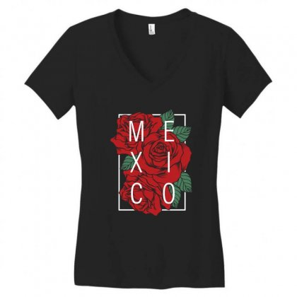 Mexico With Roses Women's V-neck T-shirt