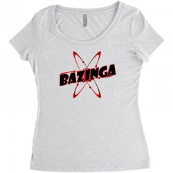 bazinga logo inspired by the big bang theory ideal birthday gift Women's Triblend Scoop T-shirt | Artistshot