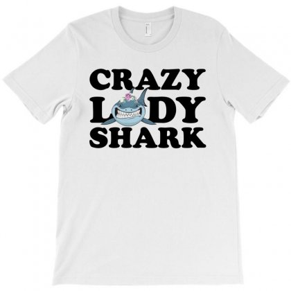 Crazy Lady Shark T-shirt Designed By Sengul