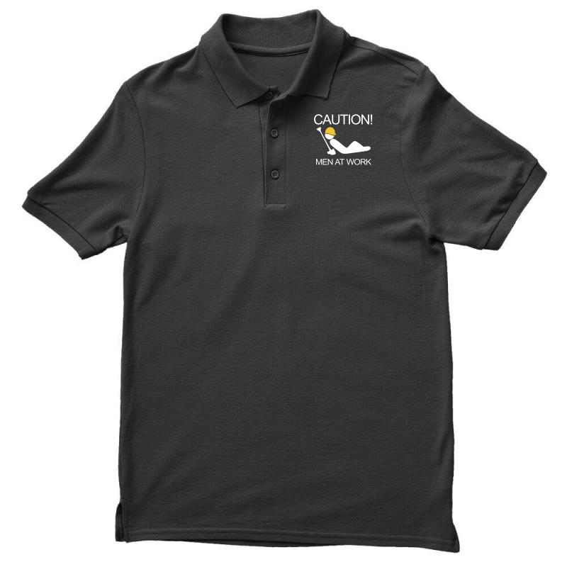Custom Caution Men At Work Polo Shirt By Mdk Art Artistshot