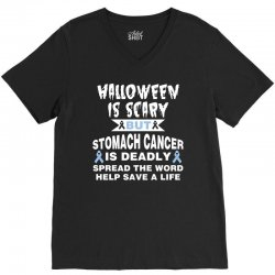 halloween is scary but stomach cancer is deadly spread the word lep sa V-Neck Tee   Artistshot