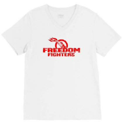 Freedom Fighters V-neck Tee Designed By Mdk Art