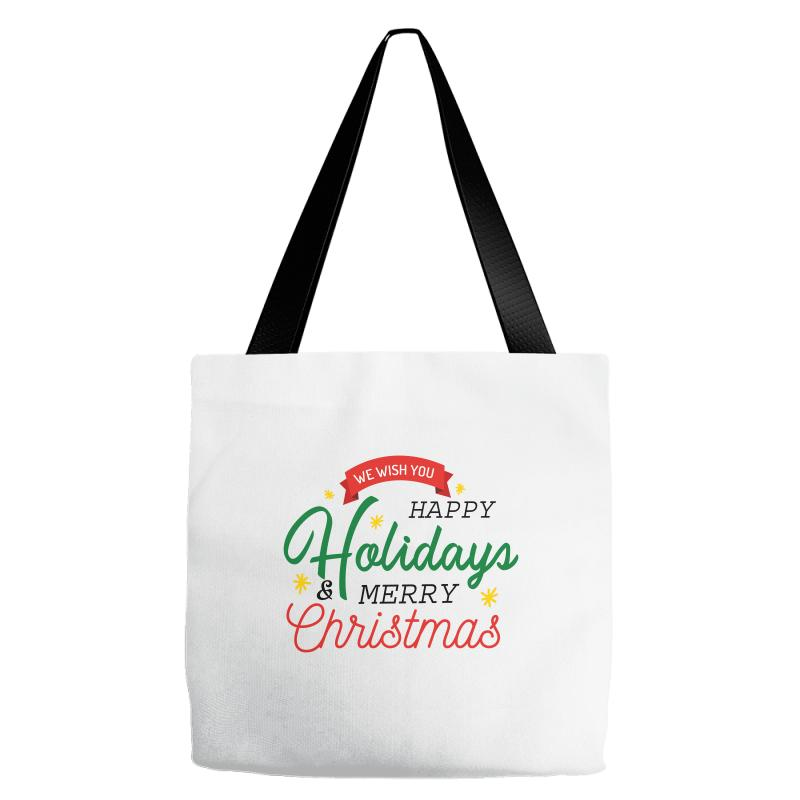 d3ee6fbe10048 Custom We Wish You Happy Holidays   Merry Christmas Tote Bags By Nurbetulk  - Artistshot