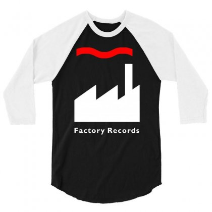 Factory Records   Retro Record Label   Mens Music 3/4 Sleeve Shirt Designed By Mdk Art