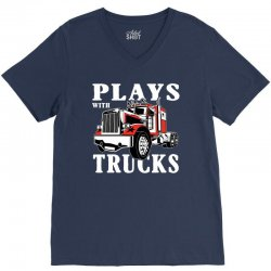plays with trucks family matching V-Neck Tee | Artistshot