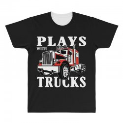 plays with trucks family matching All Over Men's T-shirt   Artistshot