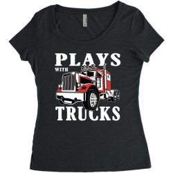 plays with trucks family matching Women's Triblend Scoop T-shirt   Artistshot