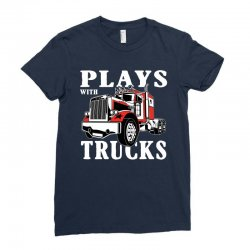 plays with trucks family matching Ladies Fitted T-Shirt   Artistshot