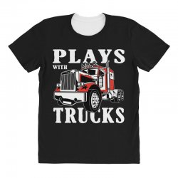 plays with trucks family matching All Over Women's T-shirt   Artistshot