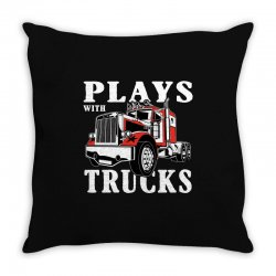 plays with trucks family matching Throw Pillow   Artistshot