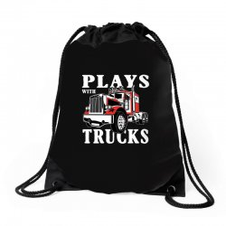plays with trucks family matching Drawstring Bags   Artistshot