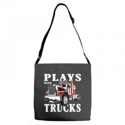 plays with trucks family matching Adjustable Strap Totes   Artistshot