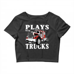 plays with trucks family matching Crop Top   Artistshot