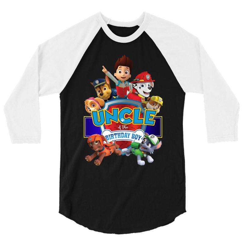 Custom Paw Patrol Birthday Boy Uncle 3 4 Sleeve Shirt By Sengul