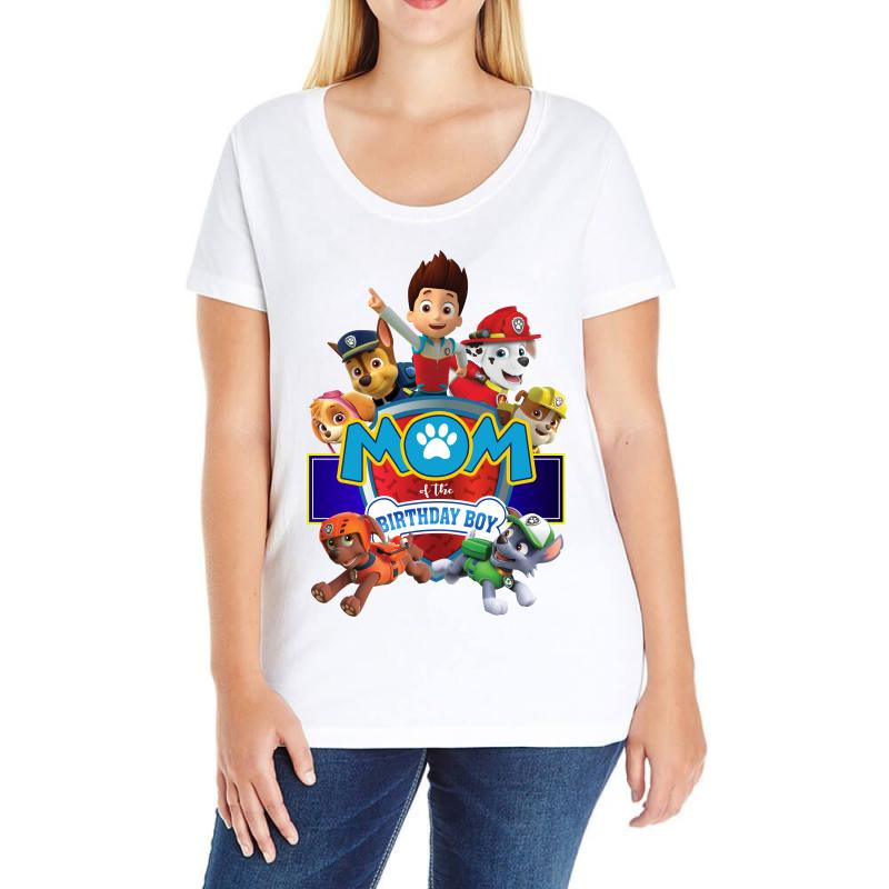 Paw Patrol Birthday Boy Mom Ladies Curvy T Shirt