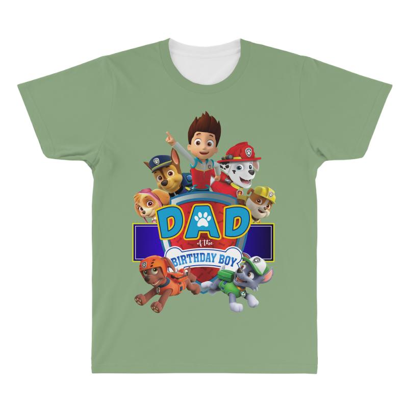 Paw Patrol Birthday Boy Dad All Over Mens T Shirt