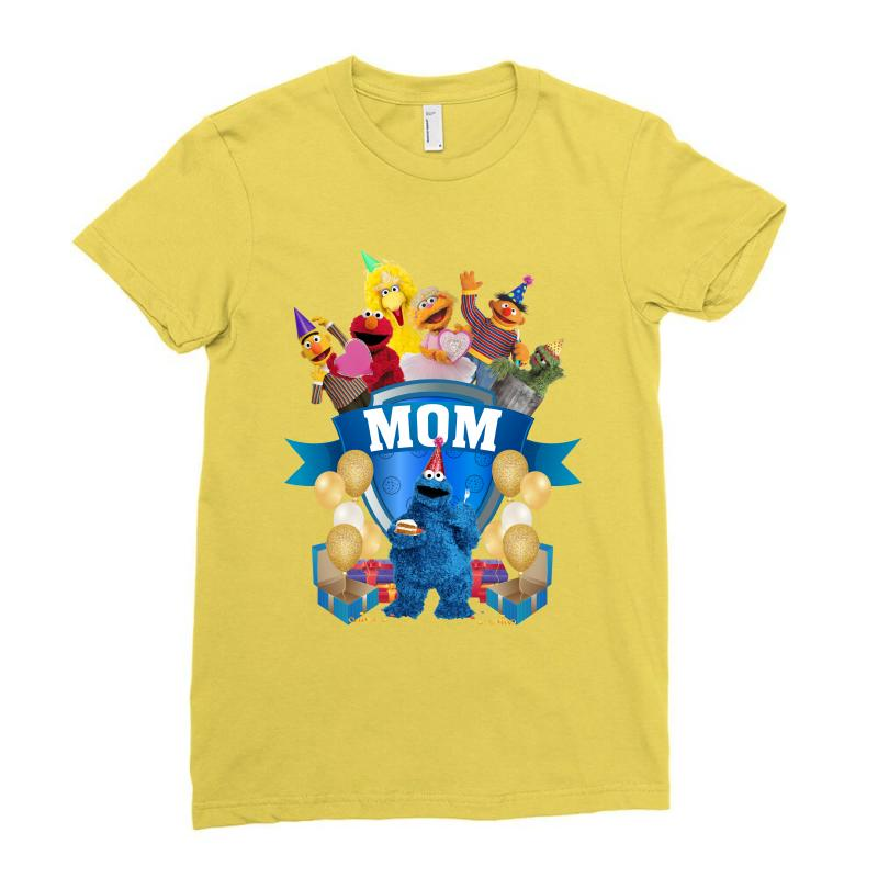 Cookie Monster Birthday Boy Mom Ladies Fitted T Shirt